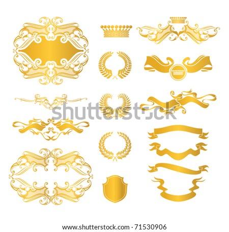 Set of heraldic elements, bitmap copy - stock photo