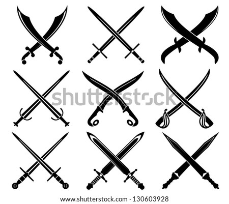 Set of heraldic swords and sabres for design. Vector version also available in gallery