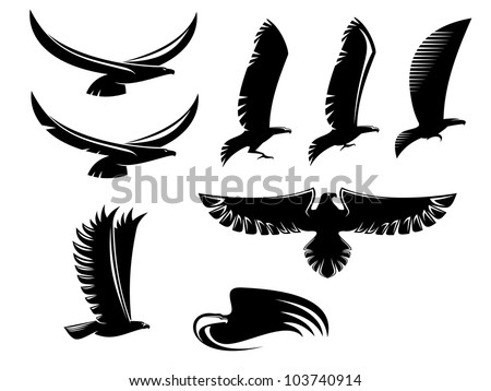 Set of heraldry black birds for tattoo or mascot design, such logo. Vector version also available in gallery - stock photo