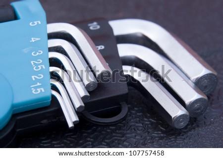Set of hex allen keys - stock photo
