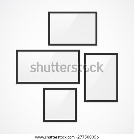Set High Quality Black Photo Frames Stock Illustration 277500056 ...