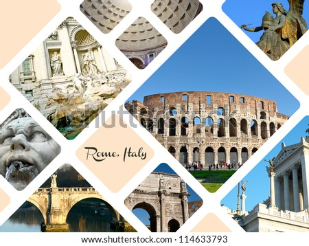 Set of historic places of Rome city, Italy