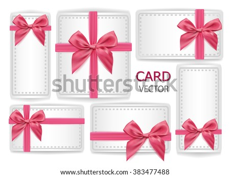 set of holiday present gift package vector illustration. Sign of happy happiness, pink silk ribbon with bow-knot. Web design element, wedding, birthday, congratulation card decoration  - stock photo