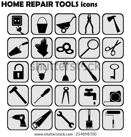 Set of home repairs icons - stock photo