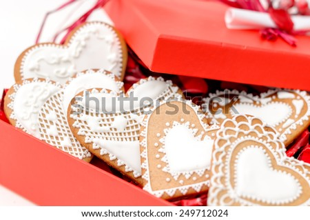 set of homemade isolated gingerbread valentine cookie hearts - stock photo
