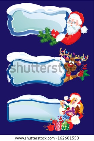 Set of horizontal banners with snowdrifts and icicles with Santa Claus, reindeer and Sexy girl peeking round from behind glossy winter frames.  Images for Christmas and New Year design. Raster version - stock photo