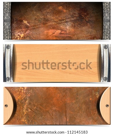 Set of Horizontal Grunge Headers Three horizontal grunge banners or headers with shadow