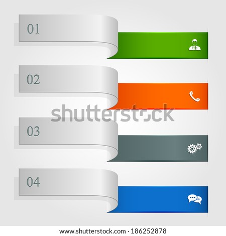 Set of horizontal infographics with icons, ribbons with numbered options and modern design, illustration.
