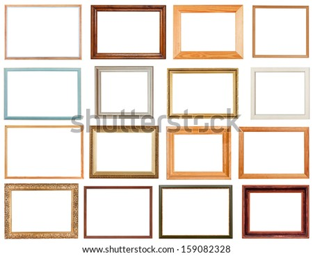 set of horizontal picture frames with cutout canvas isolated on white background - stock photo