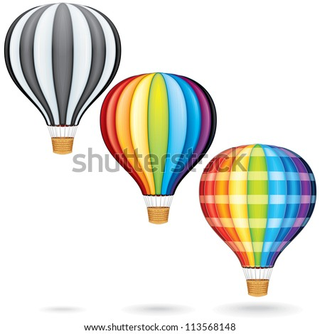 Set of Hot Air Balloons - stock photo