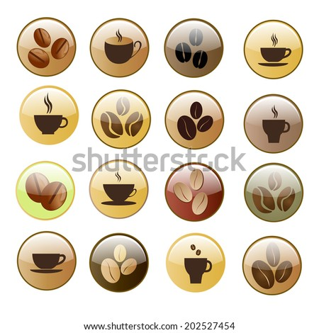 Set of Hot coffee cup icon. Metal button. Raster version. - stock photo