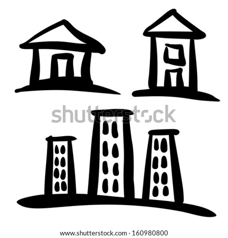 Set of House sketches, raster illustration  - stock photo