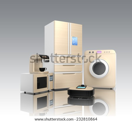 Set of household appliance on gray background - stock photo
