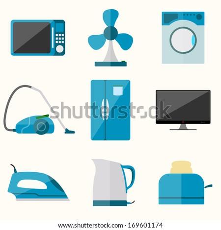 Set of household appliances icons. Raster version - stock photo