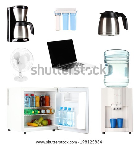 Set of household appliances isolated on white - stock photo