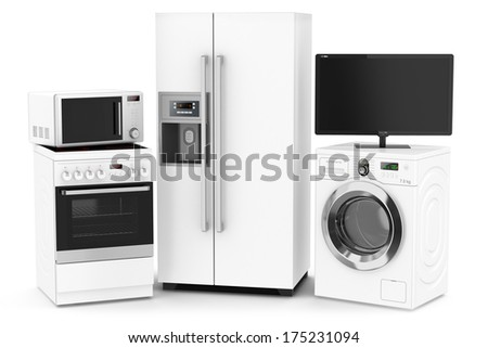 Set of household technics isolated on white background - stock photo