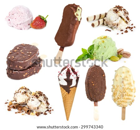 Set of ice cream isolated on white background - stock photo
