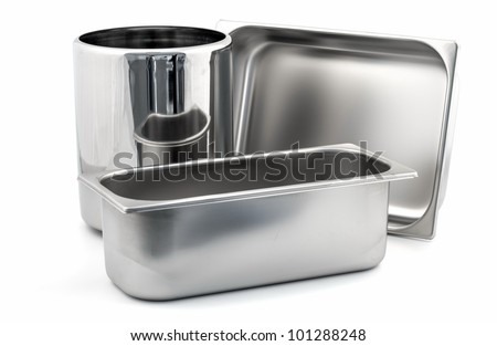 Set of Ice-cream shop metal container kitchenware isolated on white background - stock photo