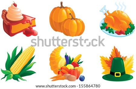 set of icon for thanksgiving. Corn, pie, Turkey-cock, pumpkin. Cornucopia, hat and leaves. There are no meshes in this image. - stock photo