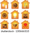 set of icon isolated with electrical equipment on house silhouette  - stock vector