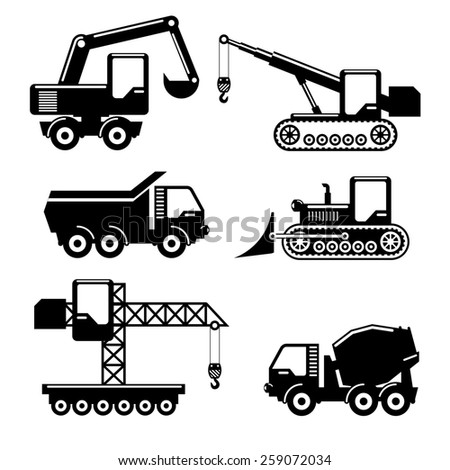 Set of icons construction. Crane and tractor, excavator, crawler and concrete mixer. - stock photo