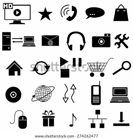 set of icons devoted to information technologies .