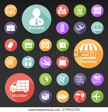 Set of icons for business, shopping and delivery