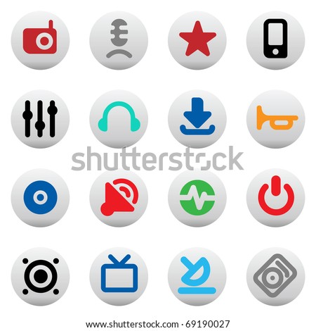 Set of icons for music and sound. Raster version. Vector version is also available. - stock photo