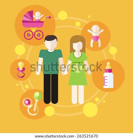 Set of icons in flat design around lovely young family. Raster version - stock photo