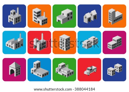 Set of icons isometric house, urban sign and emblems. City symbols. - stock photo