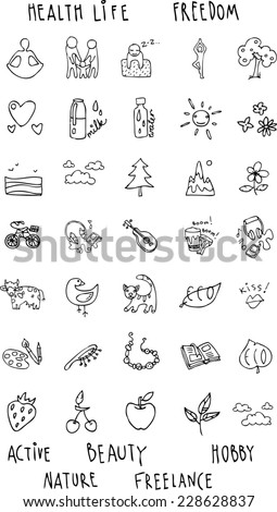 set of icons of black hand drawn contour on a white background theme of a healthy lifestyle, life, happiness, family, food,  illustration