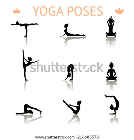 Set of icons of black yoga silhouette poses showing a graceful shapely lady meditating  bending  balancing  lotus  push-ups and doing a handstand in a health  fitness and exercise concept - stock photo