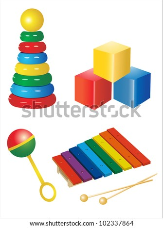 set of  icons of children's toys - stock photo