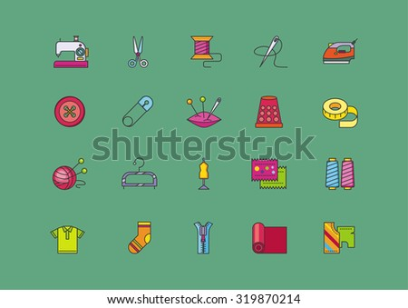 Set of icons of creative sewing flat style. Handmade and knitting industry, tailoring and handicraft, craftsmanship and needlework,  needle and scissors, pin and spool. Raster version - stock photo
