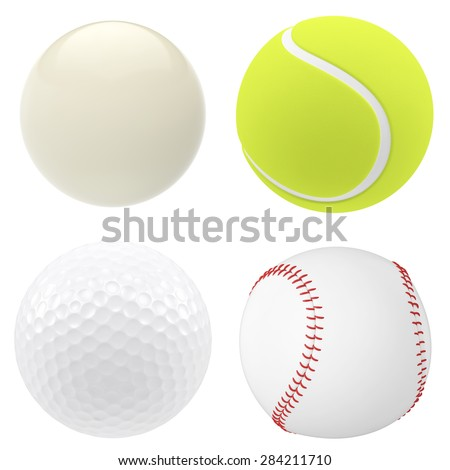 Set of icons of golf balls, billiards, tennis and baseball isolated on white background. 3d illustration High resolution
