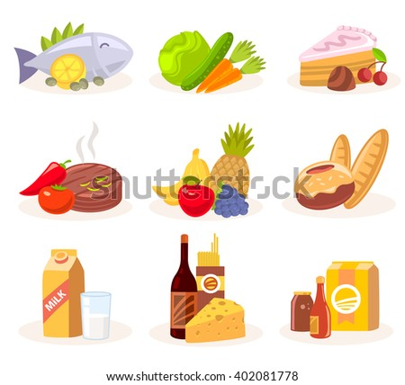 set of icons of natural products on white background. Art design for web, site, advertising, banner, poster, flyer, brochure, board, paper print.