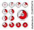 Set of icons of timers on a white background. Red indicator.  - stock vector