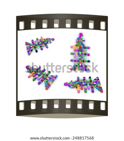Set of icons on a theme fish. Puzzle. Illustration for design  on a white background. The film strip - stock photo