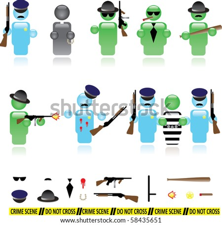 Set of icons representing mafia and police wars - raster version - stock photo