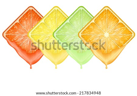 Set of icons Square fruits slices with fresh juice. Isolated on white background. - stock photo