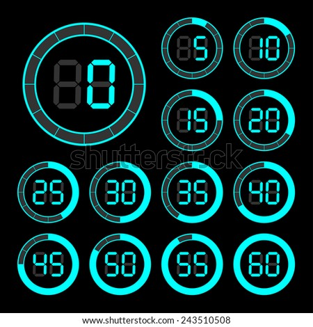 Set of icons stopwatch. The  illustration.
