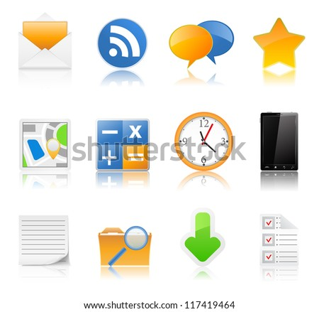 Set of icons with reflection - stock photo