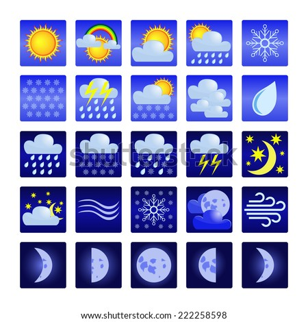 Set of icons with symbols of weather. - stock photo