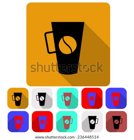 Set of icons with the image of a cup of coffee with coffee bean pattern, flat icons eleven pieces  - stock photo