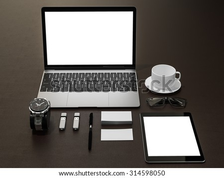 Set of identity elements on brown leather background. High resolution - stock photo