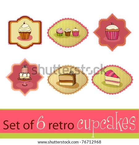 set of illustrated cute retro cupcake cards - stock photo