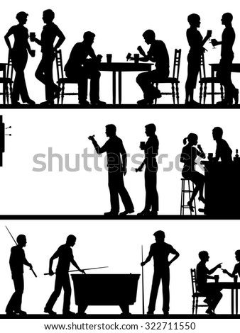 Set of illustrated cutout foreground silhouettes of typical British pub games - stock photo
