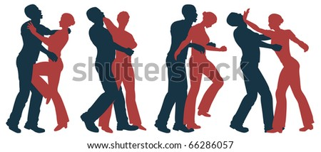 Set of illustrated silhouettes of self defense moves for women - stock photo