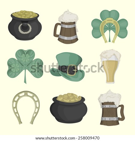 Set of illustrations for St. Patrick's Day. Colored. - stock photo