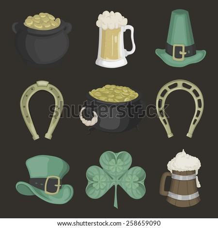 Set of illustrations for St. Patrick's Day on black background. - stock photo